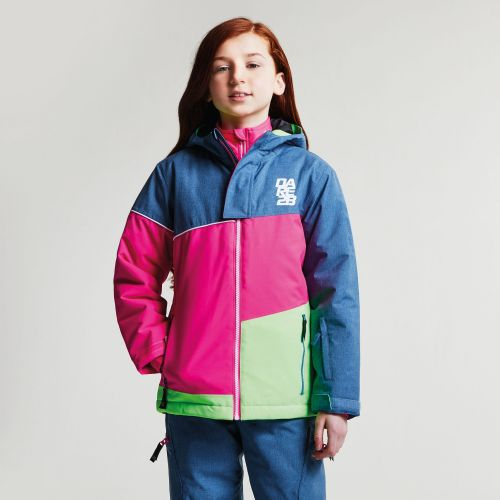 Dare2b KIDS DEBUT SKI JACKET - Astronomy Blue Texture Cyber Pink Neon Green